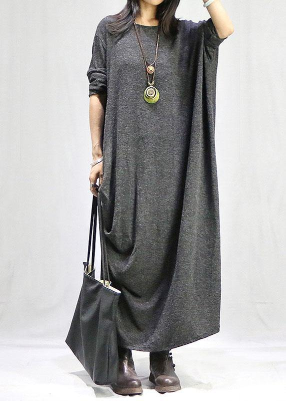 Bohemian gray dresses o neck long sleeve long fall Dress