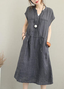 Bohemian gray striped linen clothes For Women v neck drawstring Maxi summer Dresses