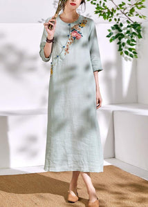 Bohemian green linen clothes For Women embroidery A Line o neck Dresses