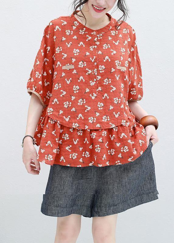Bohemian half sleeve linen Tunic design red prints blouse summer