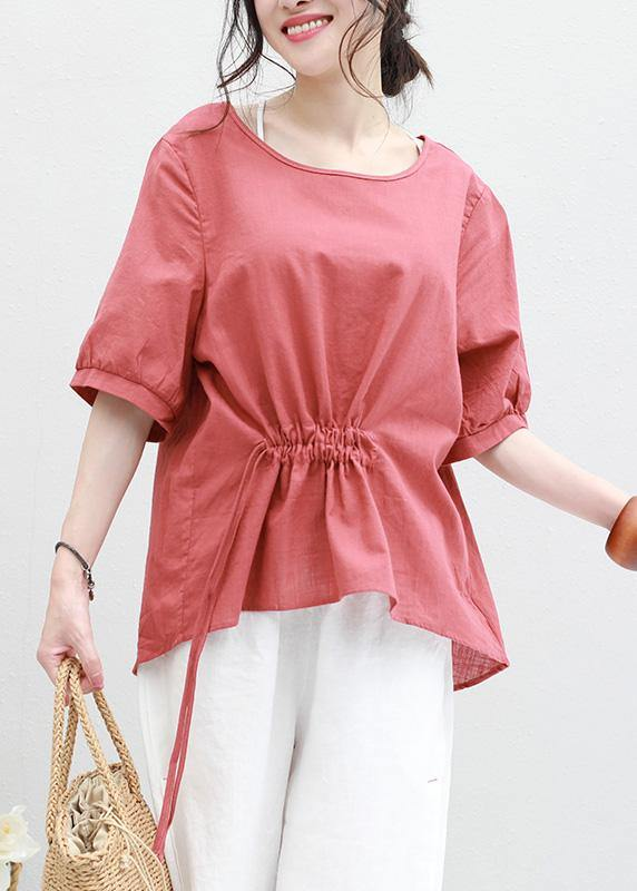 Bohemian half sleeve linen tunic top red drawstring loose top summer
