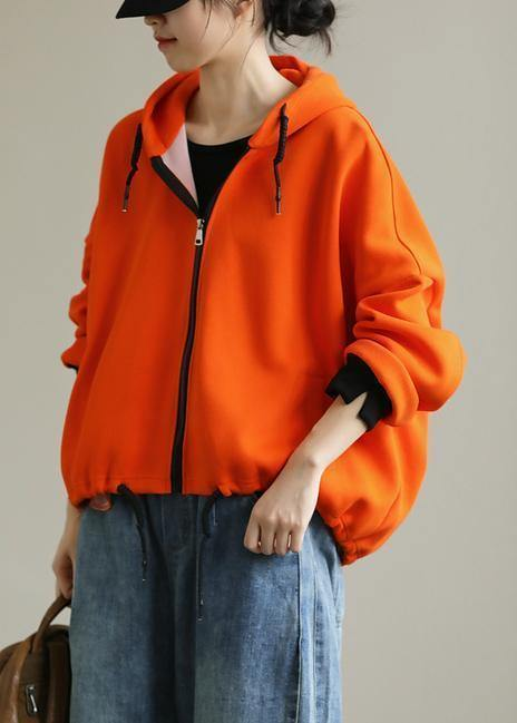 Bohemian hooded zippered tops women Neckline orange shirt