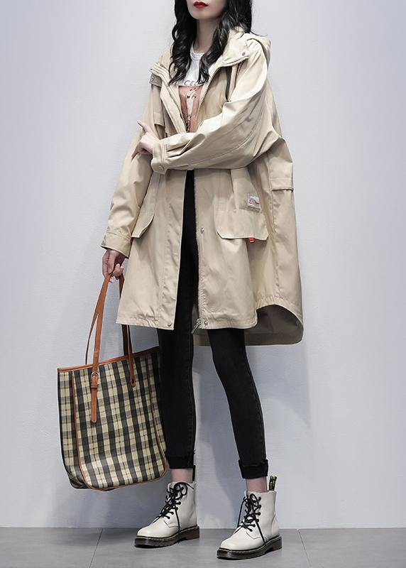 Bohemian khaki Letter  outwear Fashion Ideas hooded zippered women coats