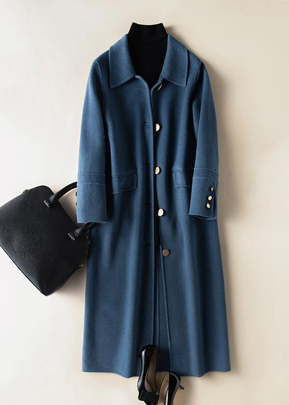 Bohemian lapel Button Down Fashion coat for woman blue Knee Woolen Coats