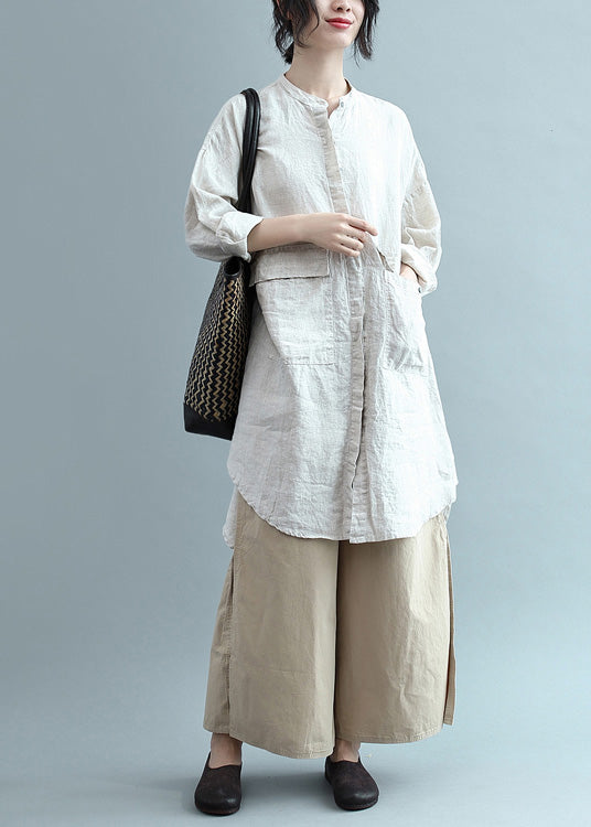Bohemian lapel Button Down cotton top silhouette Organic Fashion beige Plus Size Clothing blouses Summer