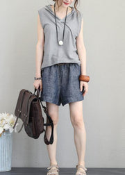 Bohemian light gray cotton Long Shirts Neckline hooded sleeveless top summer