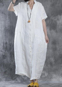 Bohemian linen Robes Omychic Women summer loose fit retro linen maxi dress
