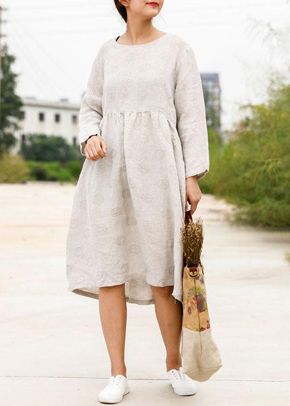Bohemian linen outfit boutique Long Sleeve Jacquard Beige Pleat Dress