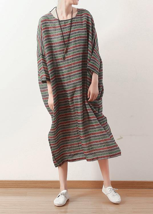 Bohemian o neck Batwing Sleeve linen dress pattern green striped  Dress