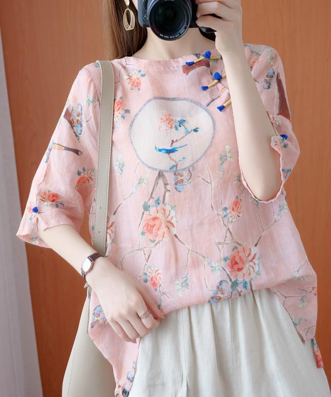 Bohemian o neck half sleeve blouses for women Shirts pink print tops