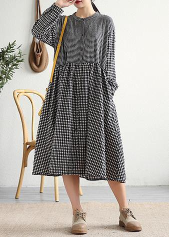 Bohemian o neck patchwork cotton linen Long Shirts Work Outfits black plaid Dress