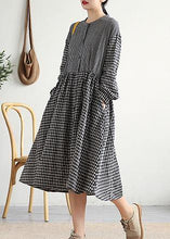 Load image into Gallery viewer, Bohemian o neck patchwork cotton linen Long Shirts Work Outfits black plaid Dress
