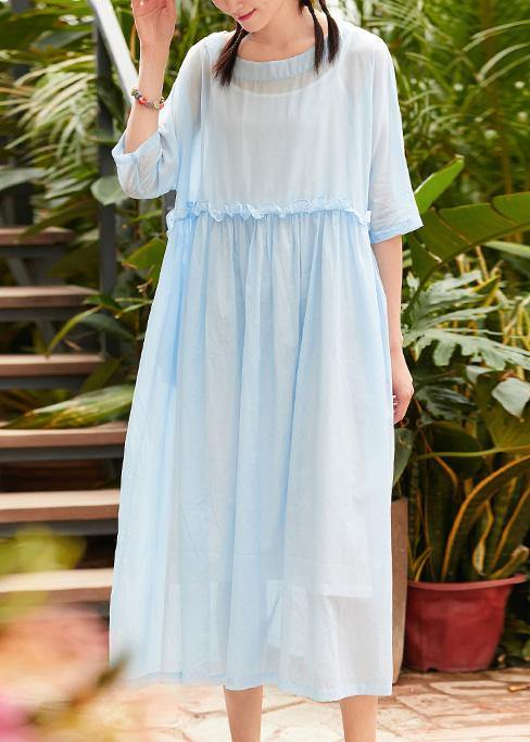Bohemian o neck patchwork linen cotton clothes Catwalk light blue Dress summer