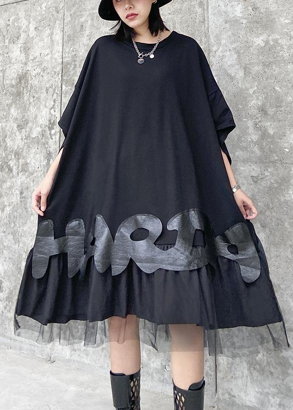 Bohemian o neck patchwork tulle clothes Women black Dresses