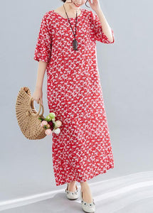 Bohemian o neck pockets linen cotton clothes Tutorials red print Dresses summer