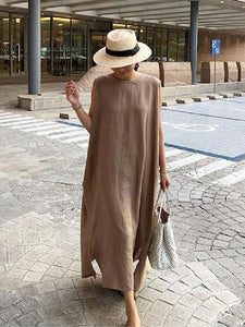 Bohemian o neck side open linen cotton clothes Fabrics khaki Dress