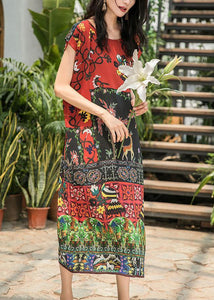 Bohemian o neck side open silk dress pattern multicolor Dress summer