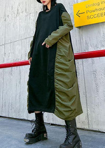 Bohemian o neck wrinkled cotton spring Tunics pattern green long Dress