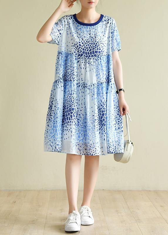 Bohemian o neck wrinkled summer Tunics Fashion Ideas blue print Dresses