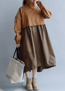 Bohemian patchwork high neck cotton clothes Women Work Outfits brown Traveling Dresses fall