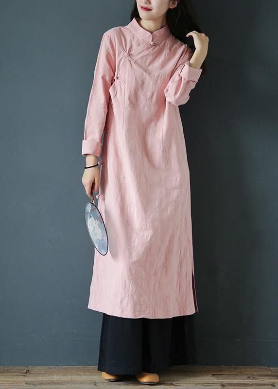 Bohemian pink Wardrobes stand collar Chinese Button Traveling Dress