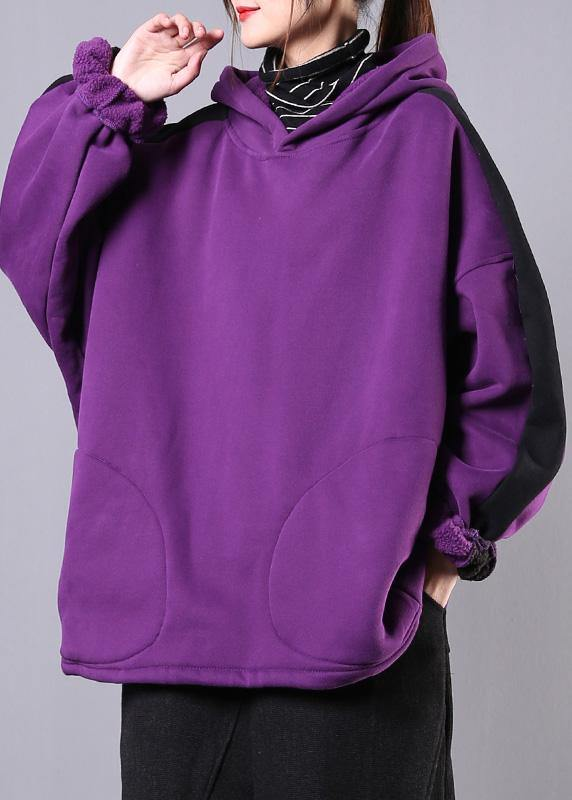 Bohemian purple cotton top hooded patchwork short fall shirts