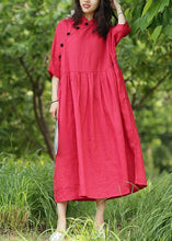 Load image into Gallery viewer, Bohemian red cotton Tunics stand collar wrinkled A Line Dresses