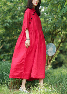 Bohemian red cotton Tunics stand collar wrinkled A Line Dresses