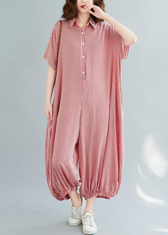 Bohemian red plaidpant Thin summerSewing wild jumpsuit