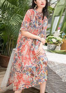 2a601602ae2 Bohemian red print silk linen clothes Work Outfits stand collar pockets A  Line Summer Dress