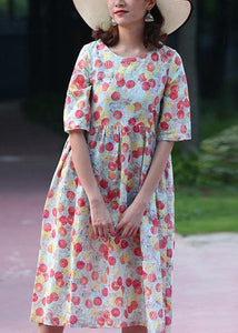 Bohemian red prints cotton linen dress short sleeve long summer Dresses