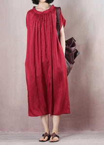 Bohemian short sleeve cotton summer outfit Shirts red A Line Dresses