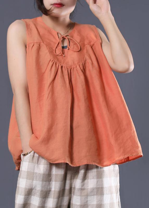 Bohemian sleeveless cotton tunic top Work Outfits orange blouse summer