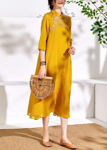Bohemian stand collar linen clothes For Women yellow embroidery Dresses