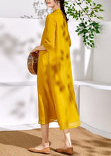 Load image into Gallery viewer, Bohemian stand collar linen clothes For Women yellow embroidery Dresses