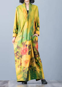 Bohemian v neck back side open cotton clothes For Women Fabrics yellow print Art Dresses fall