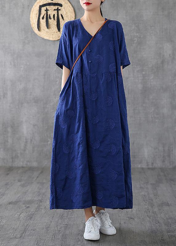 Bohemian v neck embroidery linen dresses Tutorials navy Dress