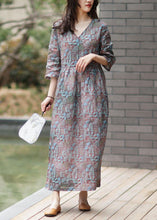 Load image into Gallery viewer, Bohemian v neck half sleeve linen summer Wardrobes blue print Dresses
