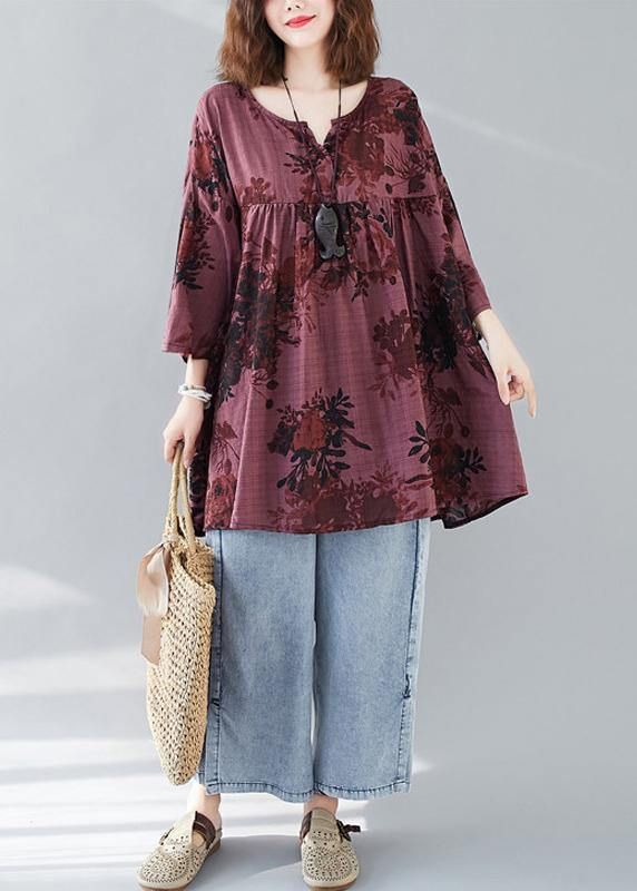 Bohemian v neck linen cotton summerclothes red prints Dresses shirts