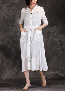 buying now brand new limpid in sight Bohemian white linen clothes For Women boutique Outfits lapel pockets Robe  Summer Dresses