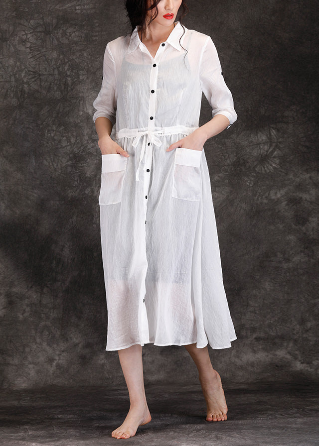 0fdf039f525 Bohemian white linen clothes For Women boutique Outfits lapel pockets Robe Summer  Dresses