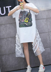 Bohemian white print Cotton quilting dresses side patchwork tulle A Line summer Dress
