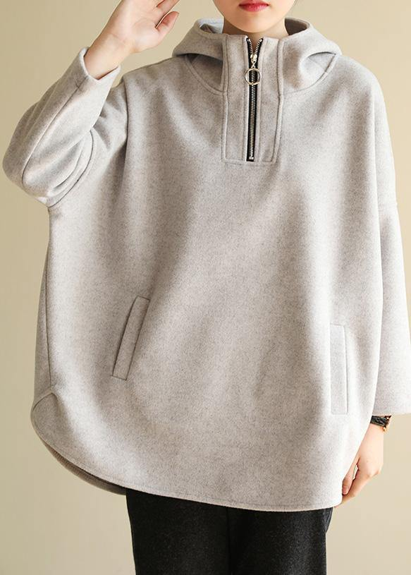Bohemian zippered cotton hooded crane tops Fabrics gray Sweatshirt