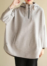 Load image into Gallery viewer, Bohemian zippered cotton hooded crane tops Fabrics gray Sweatshirt