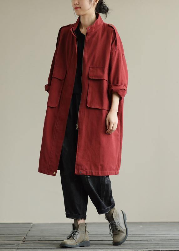 Bohemian zippered pockets fine fall Coats Women red baggy coat