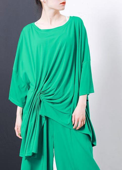Boho green Irregular Design T-Shirt Elegant cotton Pleated Solid Color clothes