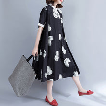 Load image into Gallery viewer, Brand Clothing Plus Size Long Shirt Tops Black White Printed Cotton Blouses
