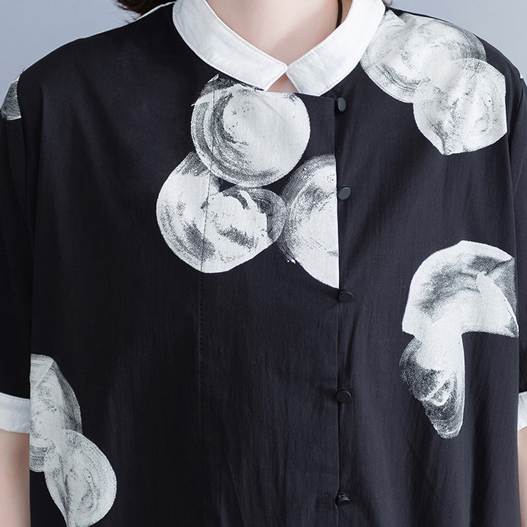 Brand Clothing Plus Size Long Shirt Tops Black White Printed Cotton Blouses