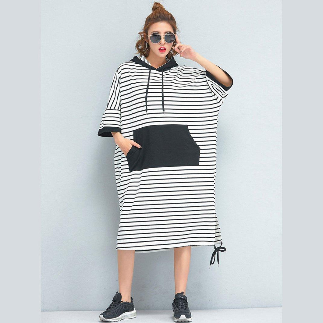Brand Oversized Women Clothing Loose Casual Cotton Striped Dress