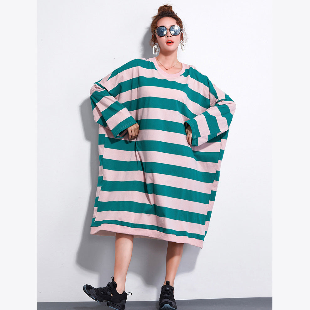 Brand Plus Size Dress Ladies Casual Striped Dresses Long Shirt